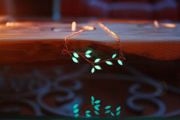 Rose Gold Leaves / Glow in the Dark / Leaves Necklace / Branch Necklace / Glow in the Dark /
