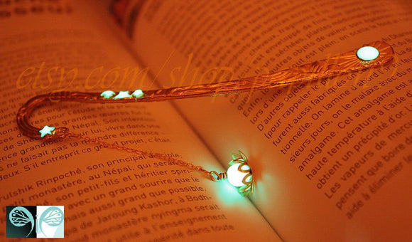 Gold Lotus flower Bookmark / Glow in the Dark / Silver Flower Bookmark /