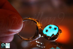 Poison Ring Glow in the Dark / Moon Stars Ring / Glow in the Dark / Sterling Silver 925 Ring /