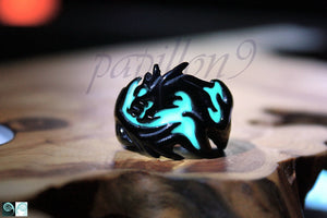 BLACK Dragon Ring Glow in the Dark / Dragon Ring / Stainless Steel Ring / Glow Ring / Dragon /
