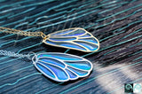 Butterfly Wing Glow in the Dark / Blue & Green Wing Necklace / Silver or Gold /