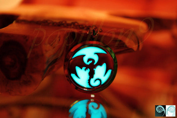 Rainblow Dragon Glow in the Dark / Dragon Locket Stainless Steel /