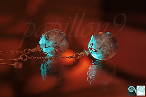Dandelion Seeds Earrings / Glow in the Dark / Glass Bubble Earrings / Dandelion Earrings /