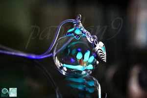 Tiny Dragonfly Pendant Glow in the Dark / Glass Bubble Pendant / Heart Necklace / Nature /