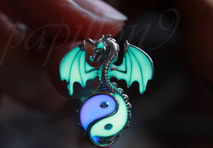Sterling silver Dragon Glow in the Dark / Yin Yang Locket / Dragon Locket / Dragon Pendant /