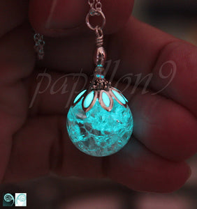 Cracked round crystal / Glow in the Dark / Cracked crystal pendant / GLOW in the DARK Crystal /