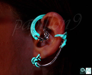 Mermaid Ear Clip Glow in the Dark / Mermaid Ear Cuff / Silver Mermaid /