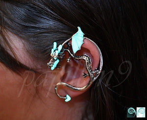 Dragon Ear cuff Glow in the Dark / Gothic Ear Cuff / Silver Dragon /