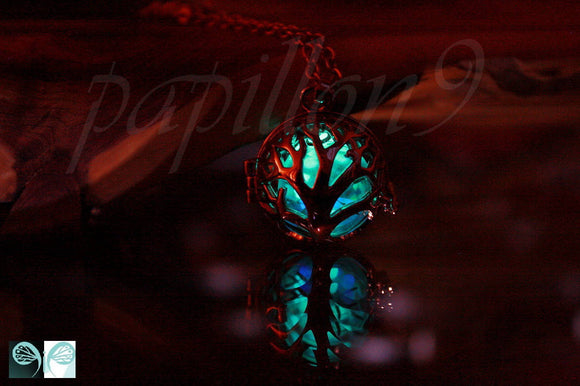 ROSE GOLD Locket / Glow in the Dark / Tree of Life Locket / Luminous Dandelion Seeds / Glow Purple & Turquoise / Dandelion seeds /