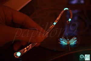 Dragonfly Bookmark Glow in the Dark / Glow Moon Star Bookmark / 2 colors Glow in the Dark / Bookmark 02 /