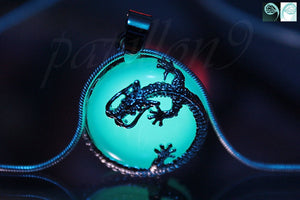 Dragon surrounding Opalite / Glow in the Dark Dragon / Silver Dragon /