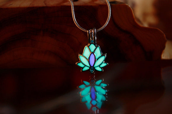 Lotus Flower Glow in the Dark Pendant / Lotus Locket / Nature /