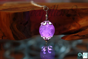 Rose Quartz Pendant Glow in the Dark / Quartz Necklace /