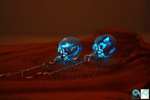Butterflies Glass Earrings Glow in the Dark /  Glass Bubble Earrings / Silver Butterflies / Tiny Butterflies /