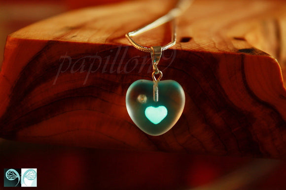 White Heart Pendant Glow in the Dark / Frosted Glass Heart / Matte White Heart / 3D Heart /
