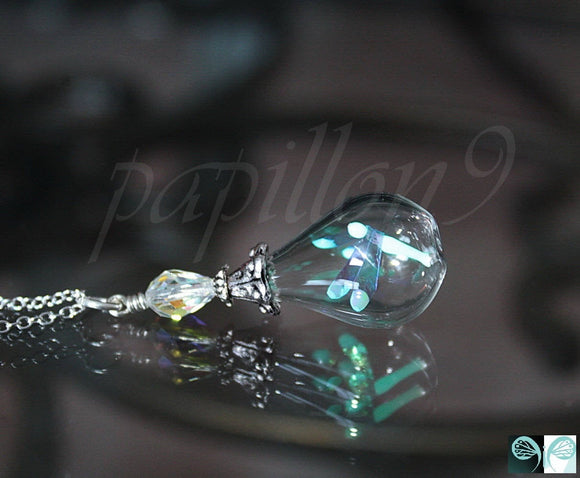 Tiny Dragonfly Glow in the Dark / Dragonfly Pendant / Teardrop Glass Pendant / Magical /