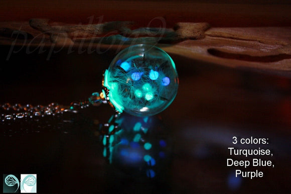 Luminous DANDELION Seeds Pendant /  GLOW in the DARK / Glass bubble pendant / Real Dandelion Seeds /