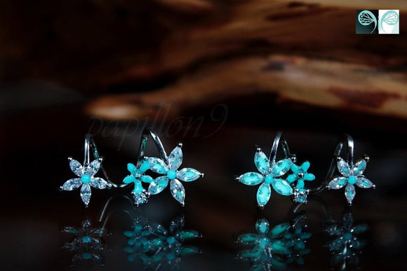 Flowers Earrings / GLOW in the DARK /  Double Earrings / Sterling Silver 925 Earrings / Crystals /