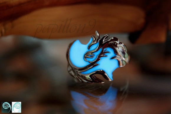 Dragon Ring Glow in the Dark / Sterling Silver 925 ring / Silver Dragon /