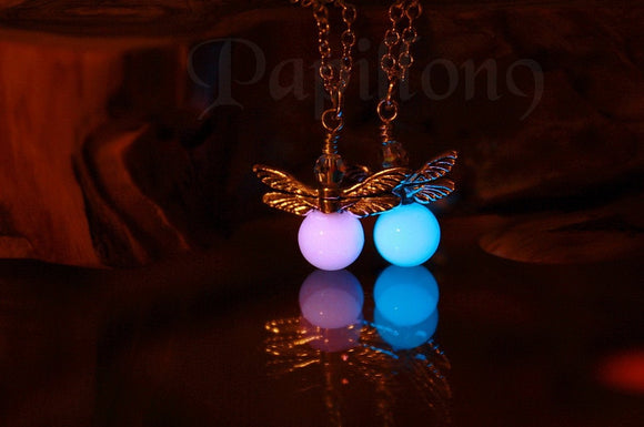 Firefly Glow in the Dark /  Firefly necklace / Glass bubble Firefly /