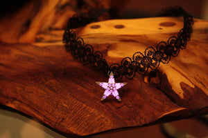 Black Lace Choker Necklace Glow in the Dark / Crystal Star Necklace / Patterned Lace Chocker /