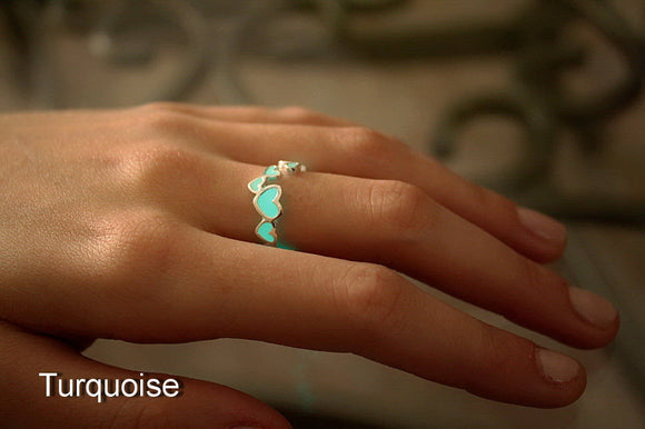 Hearts Ring / GLOW in the DARK / Love Ring / Band Ring /