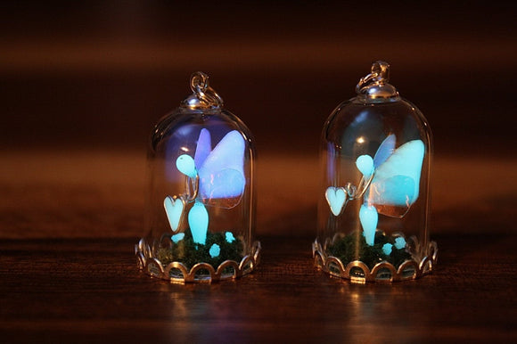 Fairy Pendant Glow in the Dark / Fairy in Glass Dome / GLOW in the DARK / Fantasy Necklace /