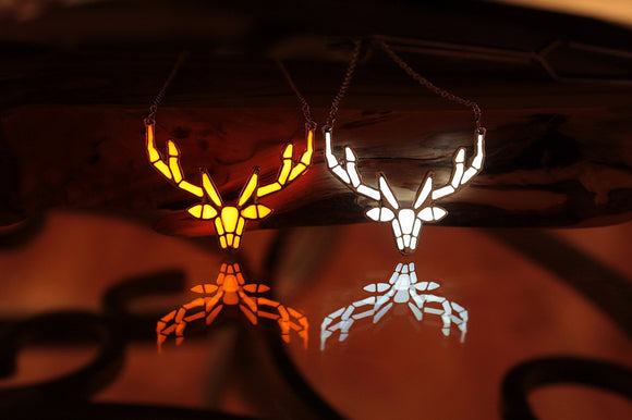 Deer Antler Necklace Glow in the Dark / Geometric Deer Pendant / White Deer / Wild Life / Gold Silver Plated /