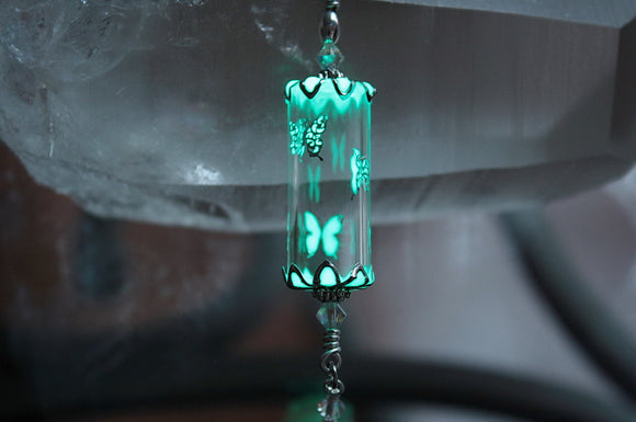 Butterflies Glass Pendant Glow in the Dark / Silver Butterflies / Glass Tube Pendant / Gold Butterflies /