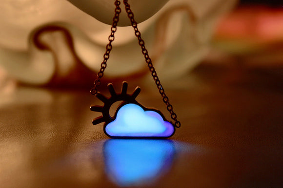 Cloud Necklace Glow in the Dark / Rose Gold Sun Necklace / White Cloud glow in the dark / Titanium Necklace /