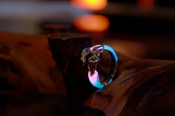 Silver Mermaid Ring Glow in the Dark / Wrap Mermaid / Ocean Salor Jewelry /