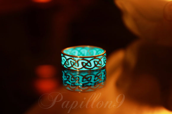 CELTIC Ring Glow in the Dark / Sterling Silver Ring / Glow Ring / Turquoise Glow in the Dark /