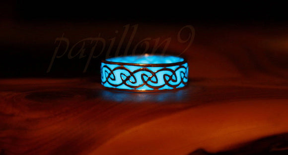 Celtic Ring Glow in the Dark / Sterling Silver 925 Ring / 9 different colors /
