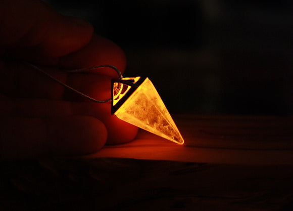 Clear Quartz Pyramid Necklace / Glow in the Dark / Triangle Pendant / Crystal Pendant /