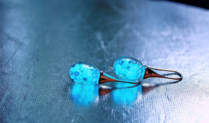 Glass Drop shape Earrings / Glow in the Dark / Glass Bubble Earrings /