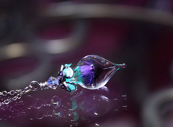 Tiny Purple DAISY / Glow in the Dark / Daisy Necklace / Teardrop Pendant / Glass Teardrop Pendant /