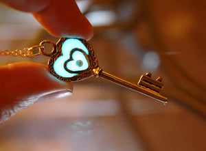 Key Necklace Glow in the dark / Key of my heart Pendant /