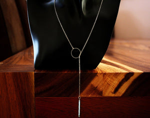 Lariat necklace Glow in the Dark / Twisted Glass Stick / Iridescent Glass /
