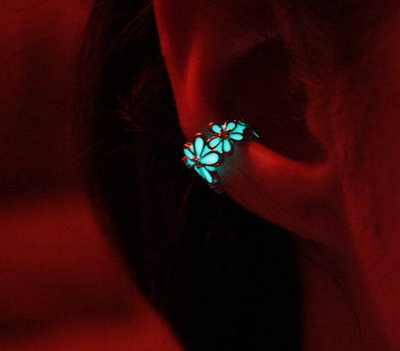 2 Rose Gold Ear Clips / Glow in the Dark / Flower Ear Clips / Two Silver Ear Clips /