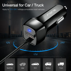 Universal Car Charger With USB Cable For iPhone & Samsung