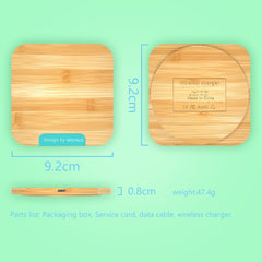 Nature Bamboo Fast Wireless Charger for iPhone &  Samsung