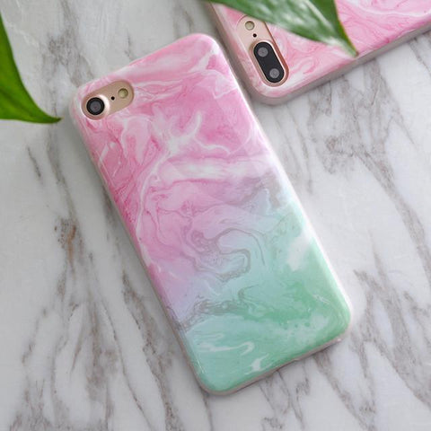 Soft TPU iPhone Case - Marble/Flower Print