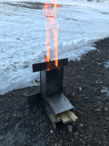 Mini Rocket Stove with carry case and fire starter.