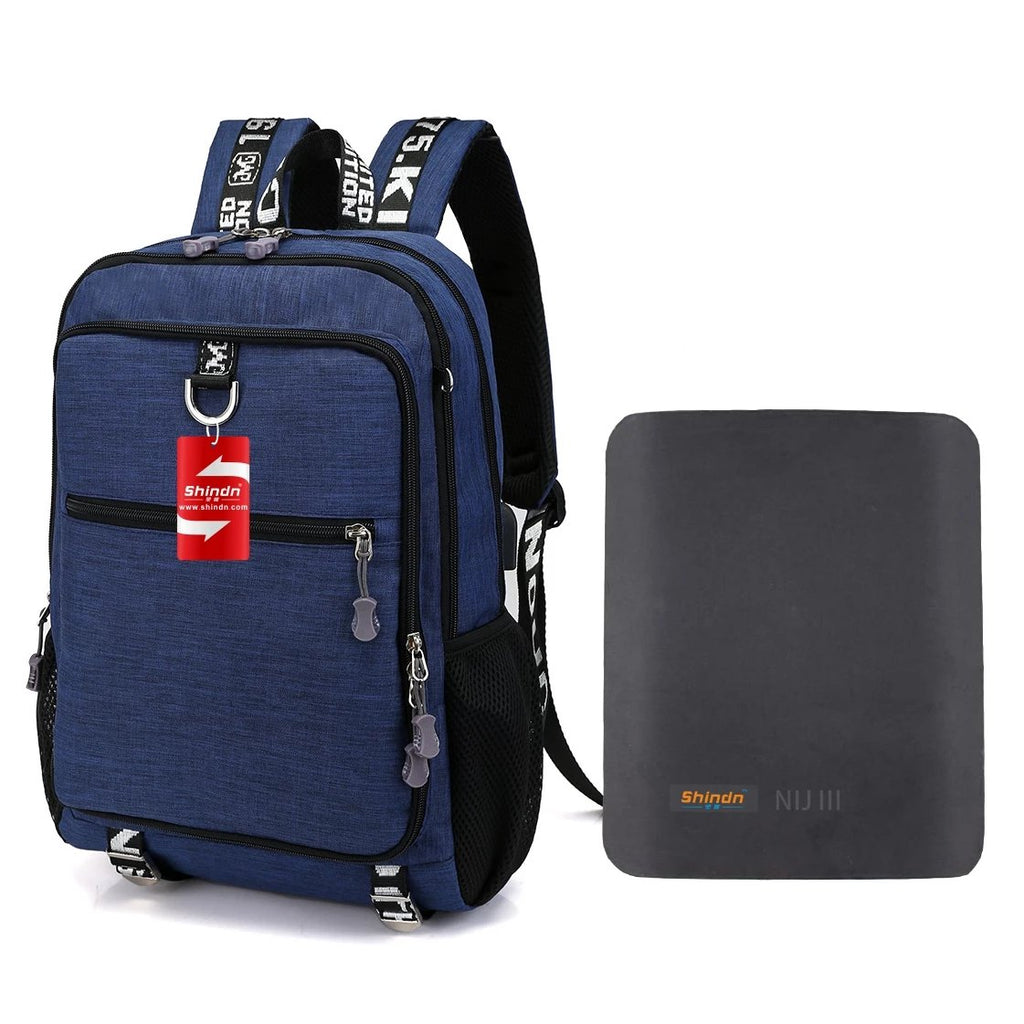 Student Bulletproof Backpack Computer Bag with USB Charging Interface NIJ IIIA