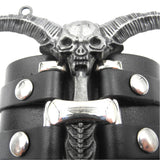 Shindn Wide Cuff Wrap Gothic Wristband Punk Rock Biker Wide Strap Leather Bracelet Detachable knuckles Skull Horn Decoration Wristband