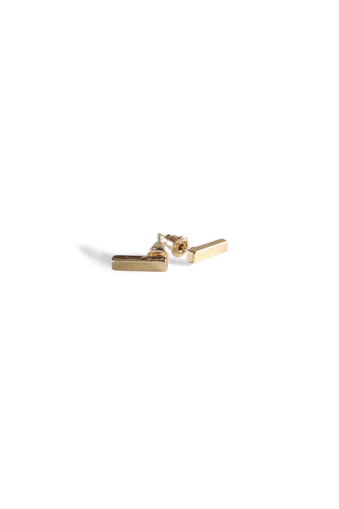 Block Bar Studs Gold