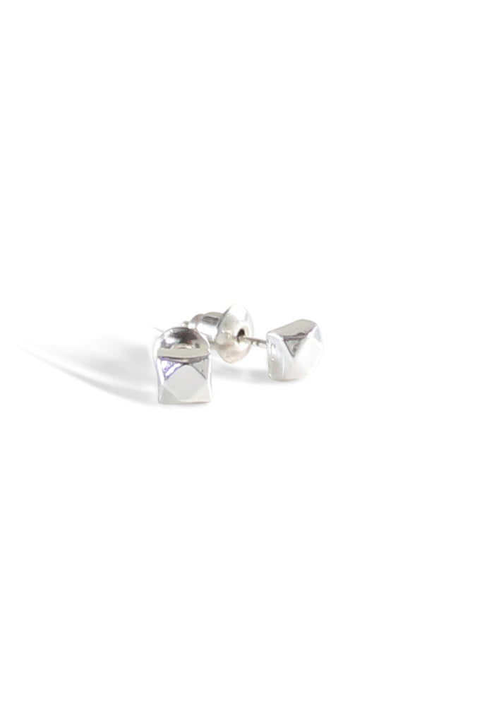 Facet Cube Studs Silver