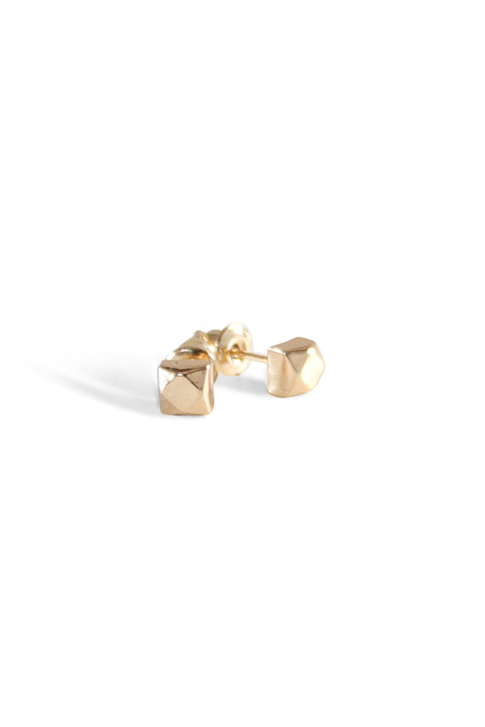 Facet Cube Studs Gold