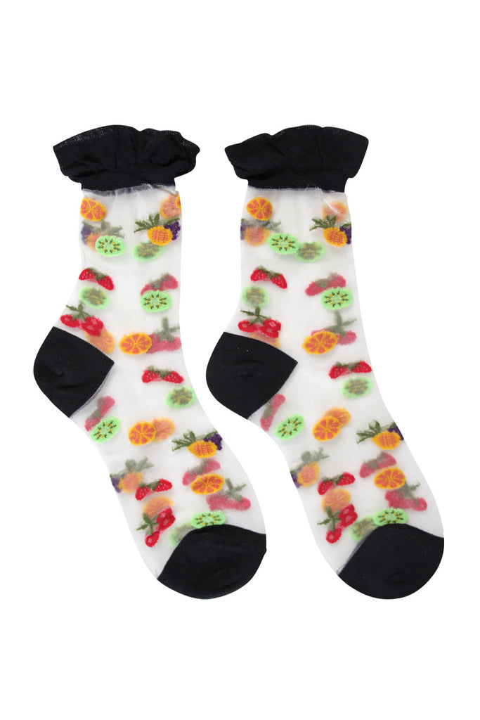 Sheer Fruit Salad Socks Black