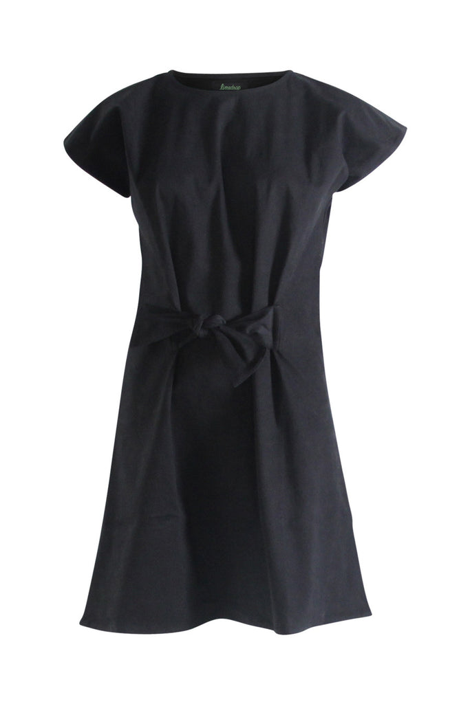 Black Peach Skin Tie Dress